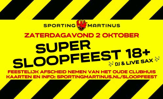 Super Sloopfeest (18 plus) op zaterdagavond 2 oktober