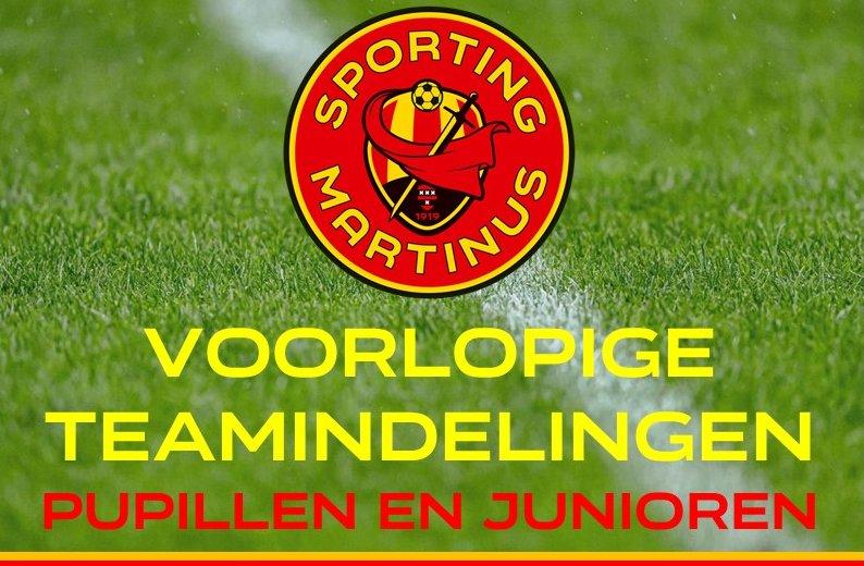 Voorlopige teamindelingen (v2) seizoen 2021 2022 pupillen en junioren